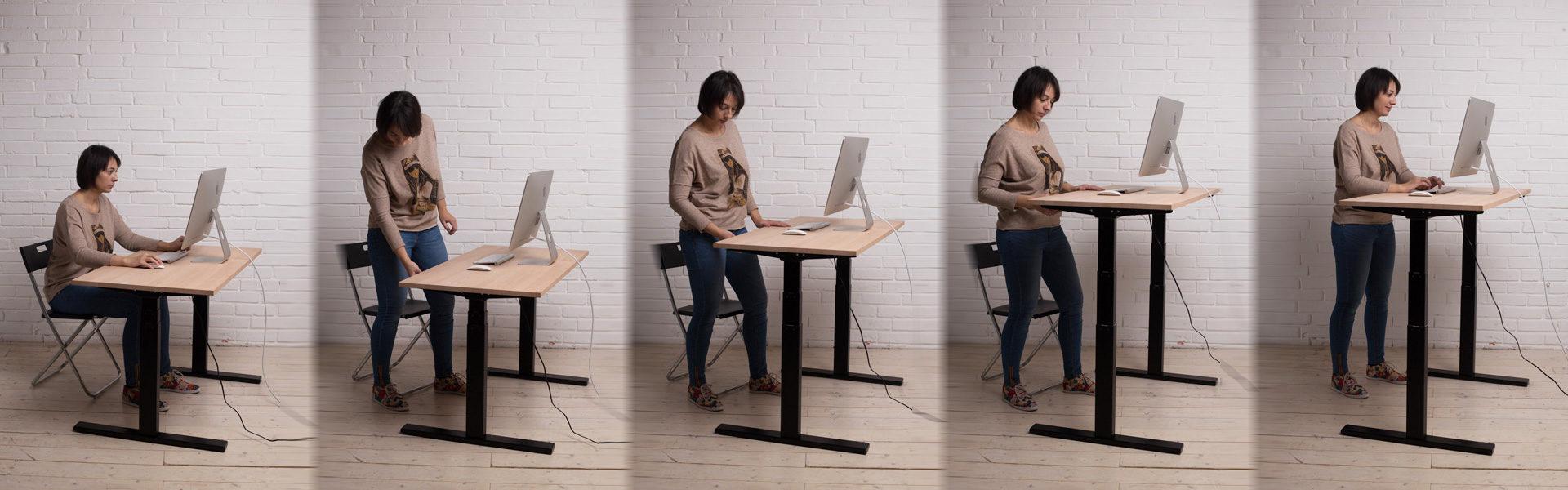 Регулируйте высоту стола, чтобы работать стоя